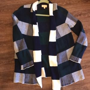 Size small ModCloth cardigan in white, blue, green